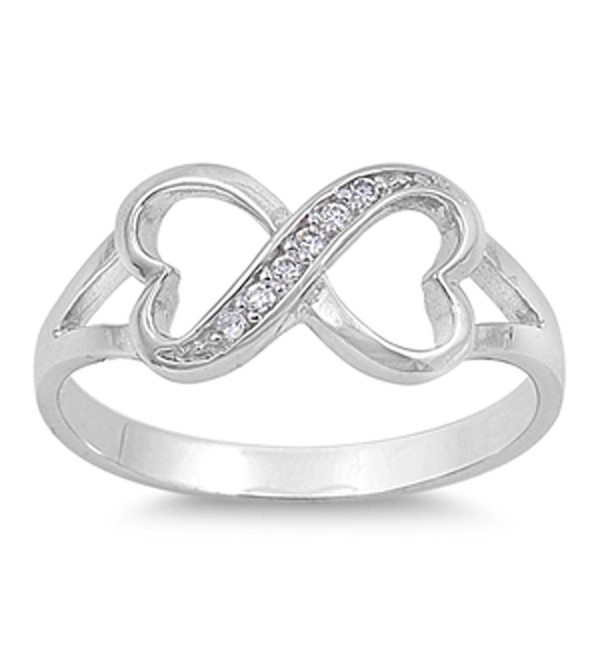 Clear CZ Heart Infinity Love Ring New .925 Sterling Silver Thumb Band Sizes 4-10 - C5187Z5OM57