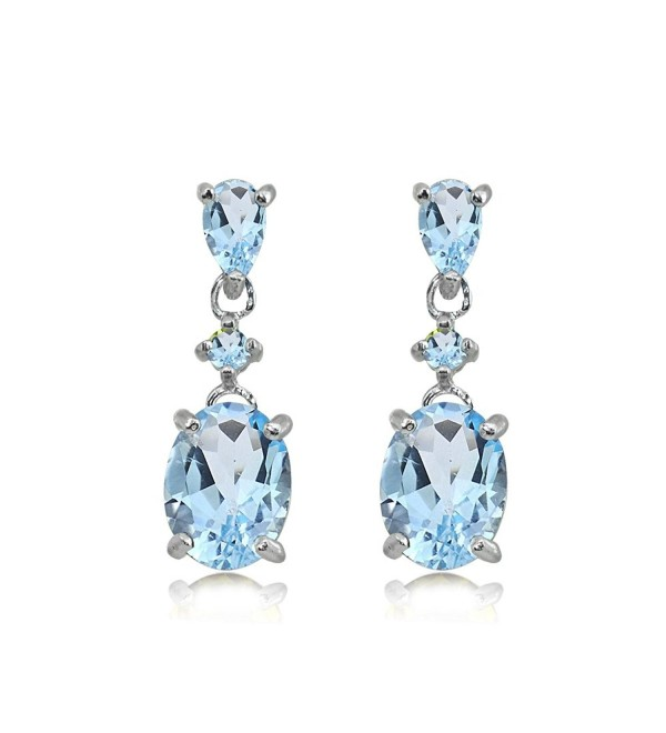 Sterling Silver Genuine- Created or Simulated Gemstone Oval Three Stone Dangling Stud Earrings - Blue Topaz - C7189UMXSHO