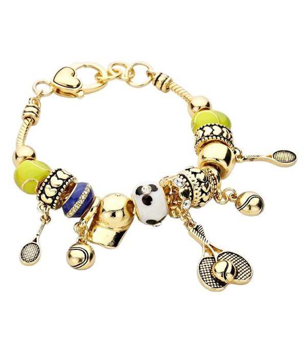 Rosemarie Collections Women's Tennis Theme Beaded Charm Bracelet - Gold - C911V2SGCJ9