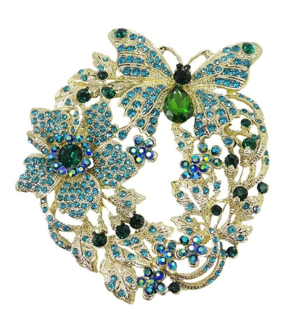 EVER FAITH Women's Austrian Crystal 4 Inch Butterfly Flower Brooch - Green Gold-Tone - CB11F9DPYIN