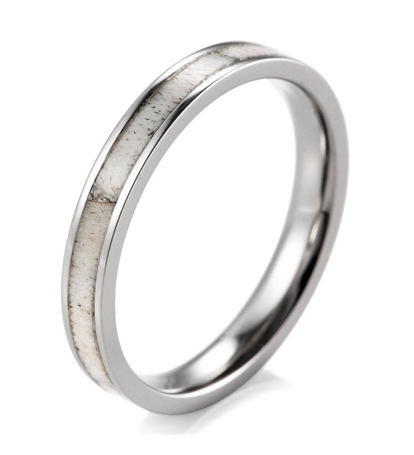 SHARDON Women's 3mm Titanium Ring with Real Deer Antler Inlay - CQ12H7GNI2N