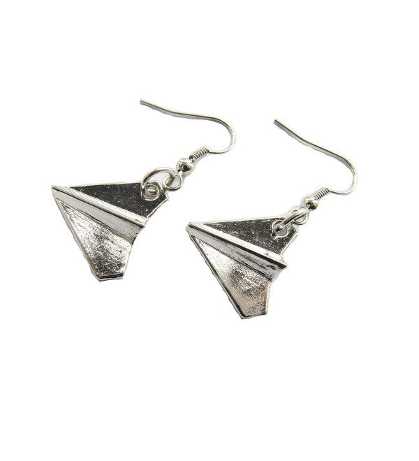 Silver Paper Airplane Earrings- Paper Airplane Jewelry- Paper Airplane Pendant- Paper Airplane Charms - CR12FP03J6D