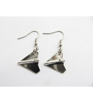 Silver Airplane Earrings Jewelry Pendant