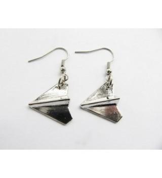 Silver Airplane Earrings Jewelry Pendant in Women's Drop & Dangle Earrings