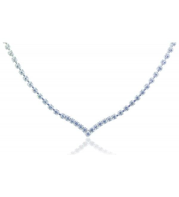 "Zoe & Ella Rhinestone Crystal Silver Plated V Necklace- 16"" with 3"" Extender - CT122N79AR7"