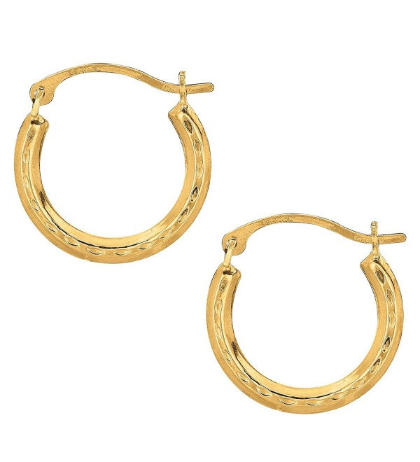 10k Yellow Gold Shiny Diamond Cut Round Hoop Earrings- Diameter 15mm - C5122T5EUKV
