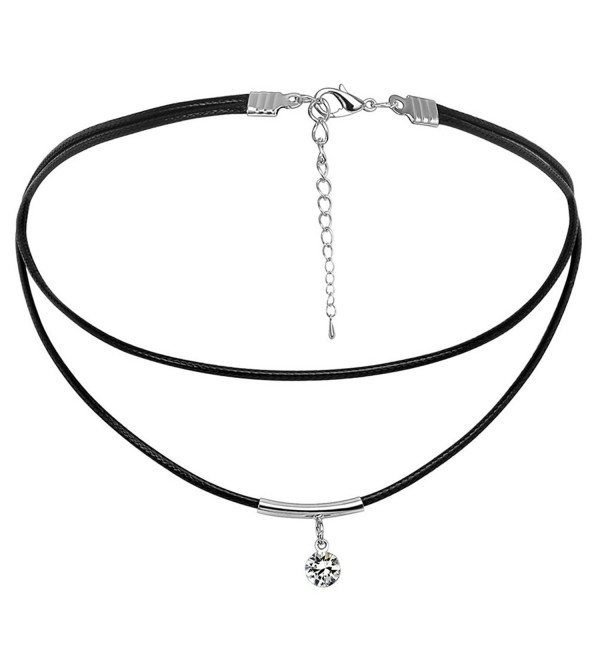 Bishilin Braided Black Leather Cord Women Choker Layered Necklace with Zirconia - C912NUPF7UC