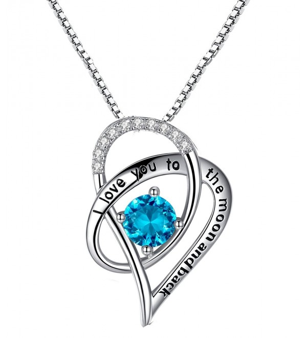 "Sterling Silver ""I Love You To The Moon and Back"" Love Heart Pendant Necklace With Love Card - Blue - C512H5AGXOZ"