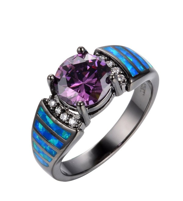 Rongxing Jewelry Blue Opal khloe kardashian wedding Rings Blue Purple Women's Engagement Size 6-9 - CQ12BYHDXGH