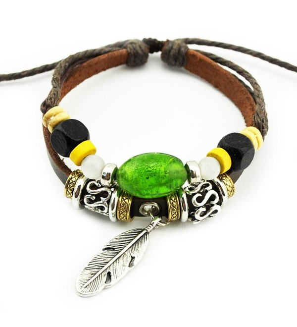 Real Spark(TM) Men Women Handmade Tribal Green Beads Feather Charms Leather Wrap Bracelet - CD127YTXU4T