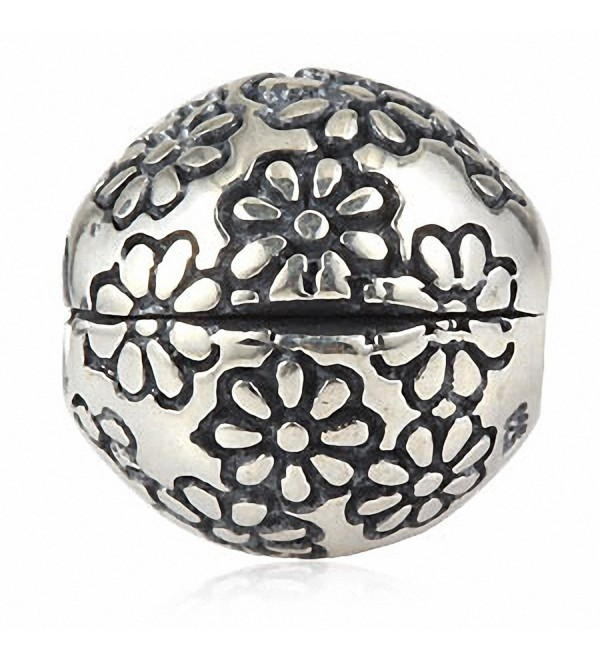 Flower Clip Charms Authentic 925 Sterling Silver Lock Stopper Beads Charm for Charms Bracelets - CW183Y0Z4Z9