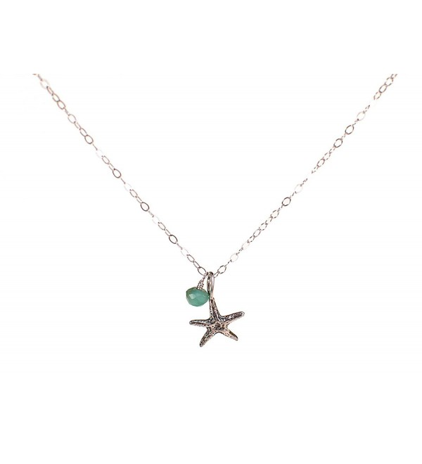 Tiny Starfish Beach Ocean Necklace Choose Birth Month Charm - CO11D3XDB4Z