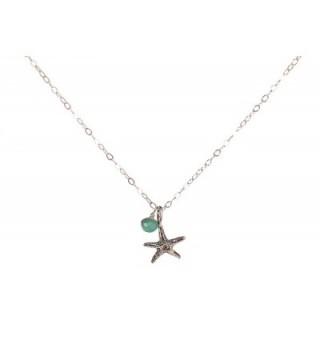 Tiny Starfish Beach Ocean Necklace Choose Birth Month Charm - CO11D3XDB4Z
