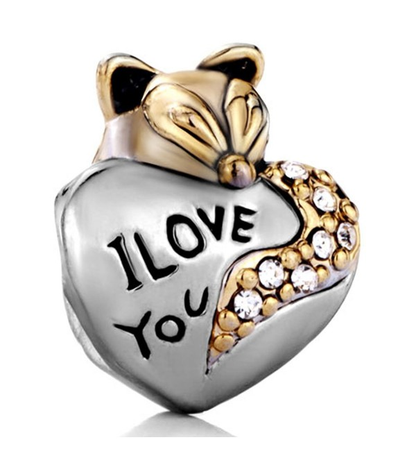 Silver Plated Pugster Cute Fox I Love You Charm Fits Pandora Bead Bracelet - CQ11O3SHUOL