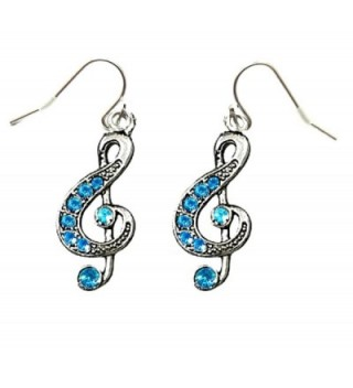 DianaL Boutique Silvertone Music Treble G Clef Note Earrings Blue Crystals Gift Boxed Fashion Jewelry - CG12FCZRA0B