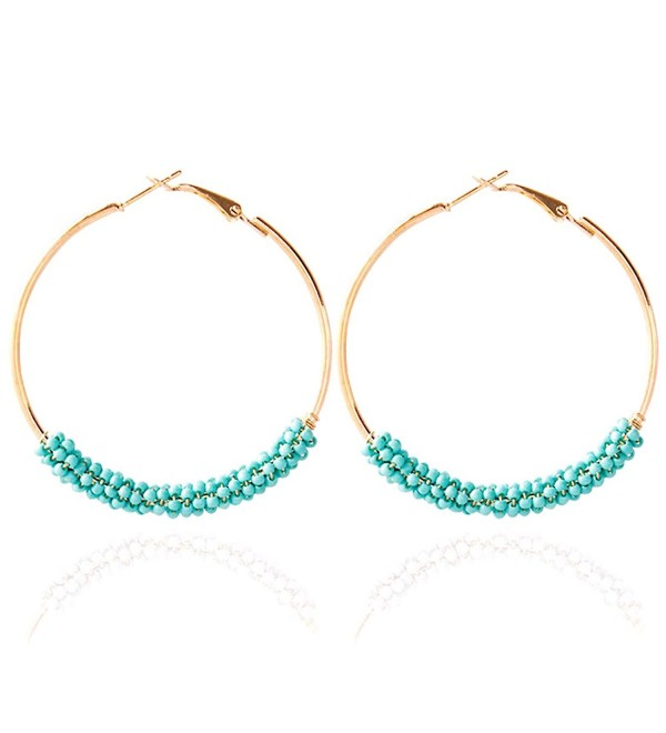 Hoop Earrings Gold Plated Beaded Earrings Bohemian Dangle Earrings for Women Girls - turquoise - C5186SXQ4WD