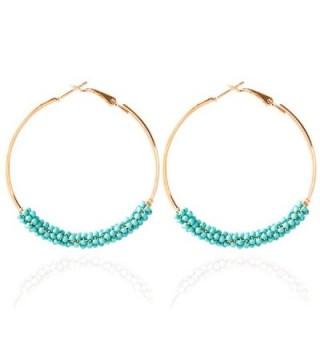 Hoop Earrings Gold Plated Beaded Earrings Bohemian Dangle Earrings for Women Girls - turquoise - C5186SXQ4WD
