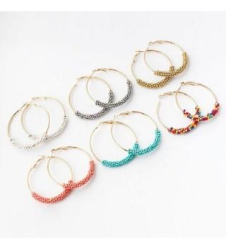 Earrings Plated Beaded Bohemian Turquoise in Women's Hoop Earrings