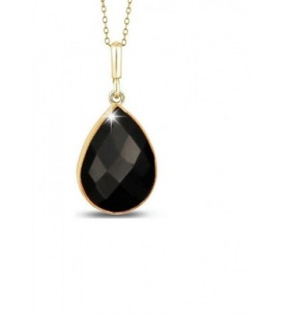 5.00CTW Genuine Black Onyx Tear Drop Pendant in 14K Gold Plated Sterling Silver- 18'' - CL182359NRT