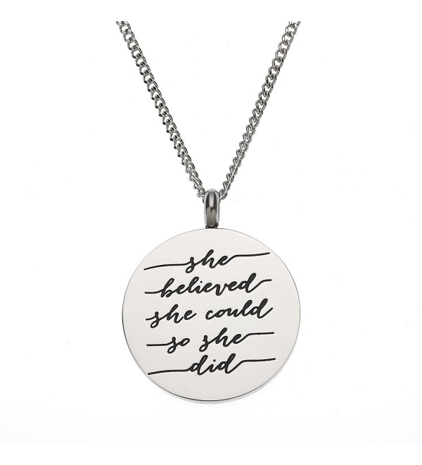 She Believed She Could So She Did Inspirational Pendant Necklace - C612H8SX5S7