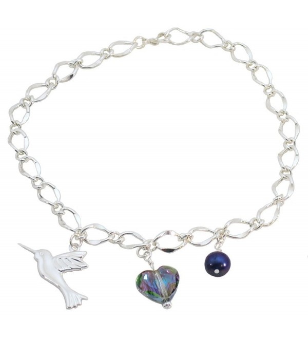 Hummingbird- Multi Colored Heart- Blue Simulated Pearl Bridal Ankle Bracelet - CV12GR3V5QN