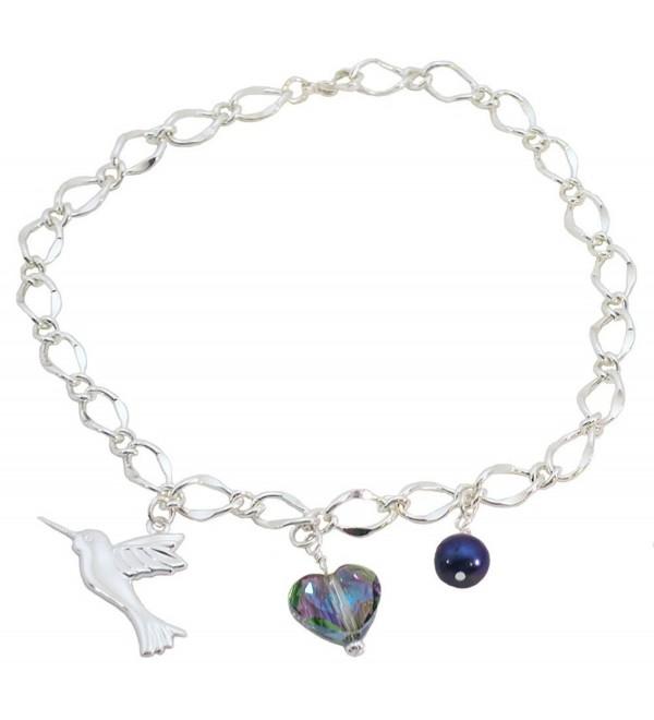 Hummingbird- Multi Colored Heart- Blue Simulated Pearl Bridal Ankle Bracelet - CV12GR3V5QN