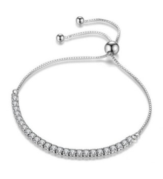 J.Fée Adjustable Sterling Silver Bracelet AAAAA Cubic Zirconia - [Gift Packaging] Ideal Gifts for Women] - Silver - CP1884RRZRL