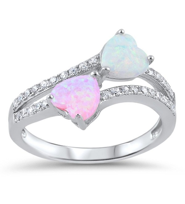 CHOOSE YOUR COLOR Sterling Silver Heart Promise Ring - Pink Simulated Opal - CM12HL5ZOJP