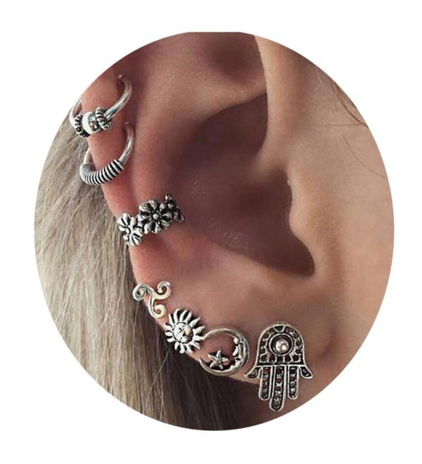 Boho Earring Set Punk Vintage Punk Earring Women Jewelry (Silver) - Silver2 - CB18740SZAM