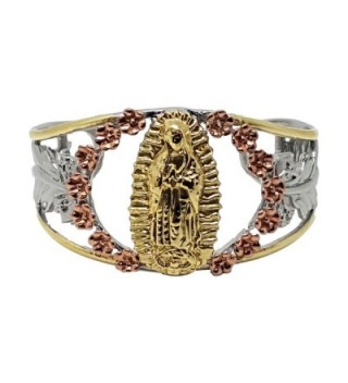 14kt Tri-tone Guadalupe Virgin Mary Stainless Steel Gold Plated Cuff Bangle Bracelet - CB125HECP0N