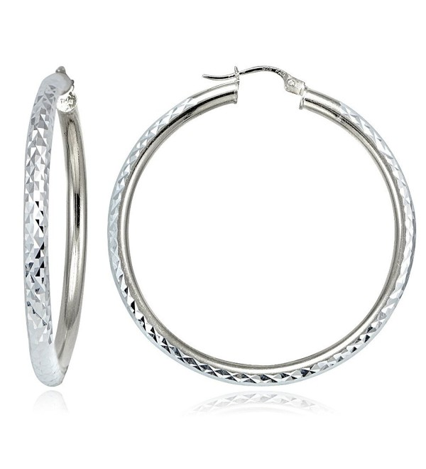 Hoops & Loops Sterling Silver 3mm Diamond-Cut Round Hoop Earrings- All Sizes - CN12KKGJK6F