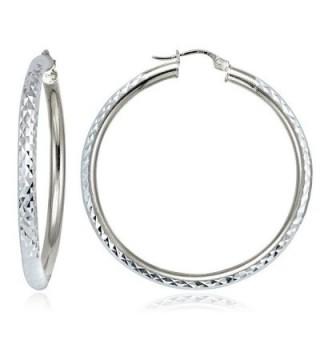 Hoops & Loops Sterling Silver 3mm Diamond-Cut Round Hoop Earrings- All Sizes - CN12KKGJK6F