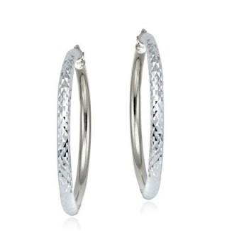 Sterling Silver Diamond Cut Round Earrings