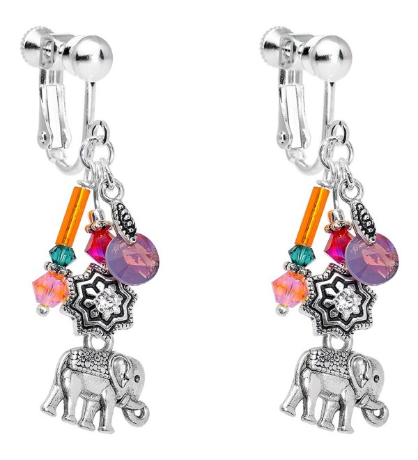 Body Candy Handcrafted Silver Plated Lucky Elephant Clip On Earrings Created with Swarovski Crystals - CZ126PYFFER