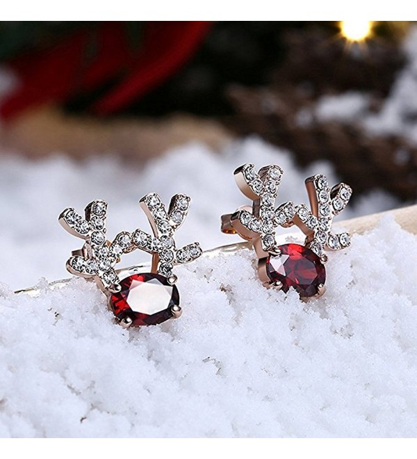 Gemstone Reindeer Earrings Dimensional Christmas - Rose Gold - CT1887QKTEW