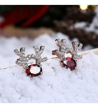 Gemstone Reindeer Earrings Dimensional Christmas - Rose Gold - CT1887QKTEW