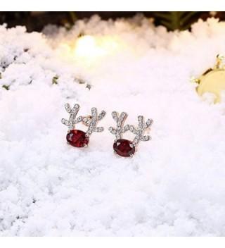 Gemstone Reindeer Earrings Dimensional Christmas