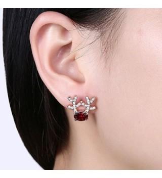Gemstone Reindeer Earrings Dimensional Christmas in Women's Stud Earrings