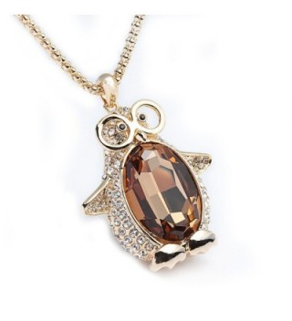 Godyce Penguin Pendant Necklace Long Gold Plated Women Girl - Yellow Crystal Jewelry - C1128TYXAFB