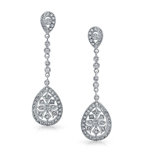 Bling Jewelry CZ Teardrop Bridal Chandelier Earrings Rhodium Plated Brass - CD113XQ52LR