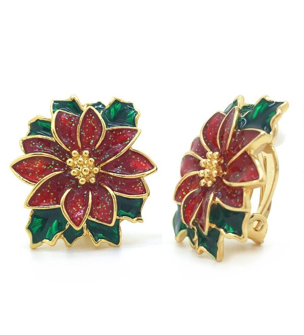Poinsettia Clip On Earrings Christmas Flower Red Green Enamel Gold Plated Women Fashion - CS12O9QOYEG