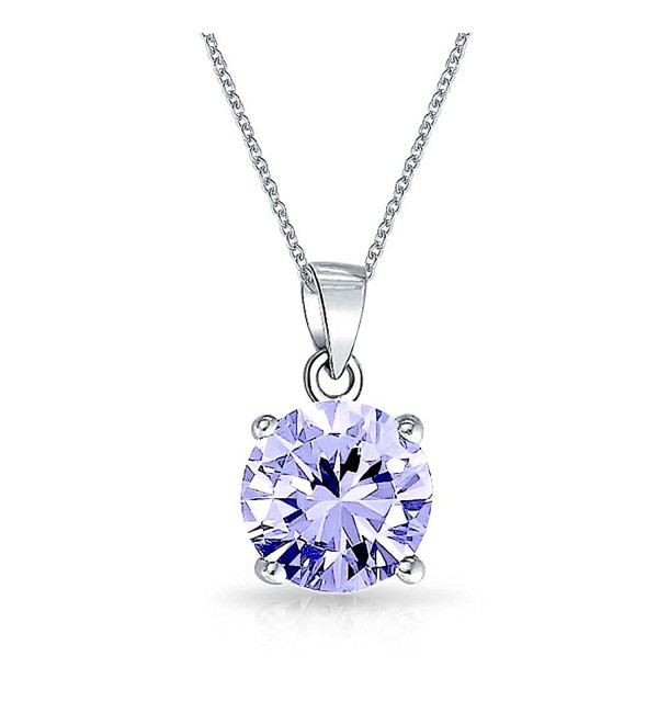 Bling Jewelry Simulated Lavender Alexandrite CZ Solitare Pendant Rhodium Plating Necklace 18 Inches - CF121OXCUSN