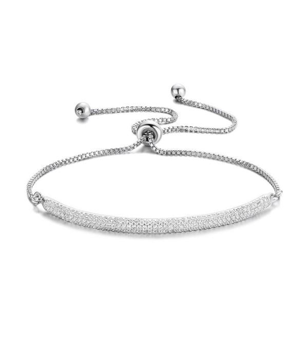 "DIFINES Redbarry Micro CZ 18k Gold Plated Bar Shape Adjustable Charm Bracelet for Women Girls 9.05"" - White - CS12N2CLDQ7"