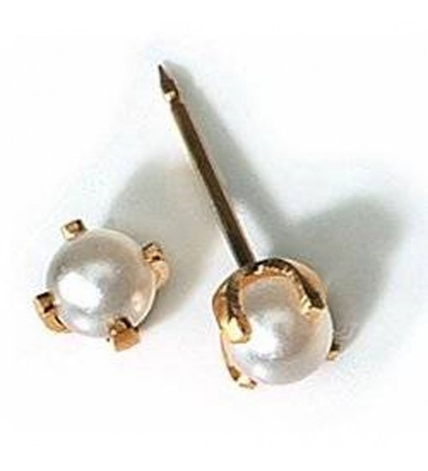 INVERNESS 24K Gold Plate 4mm 4-Prong Pearl Piercing Earrings 40C - CW116LCPULH