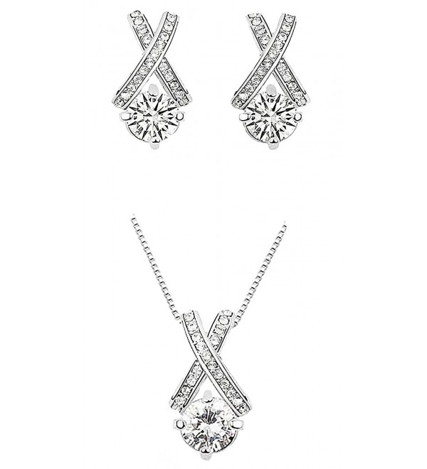 18k White Gold Plated X Crossing Pendant Necklace and Stud Earrings Jewelry Set for Women Teen Girls - CE12NA6SKKI