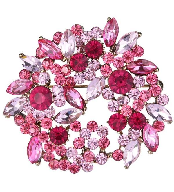 EVER FAITH Antique-Gold-Tone Crystal Leaf Wreath Brooch Pendant Pink - C211YK2LYFL