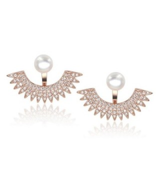 5mm Pearl Stud Front-Back Micropave Jacket Earrings Platinum Plated - CR183GLI33Z