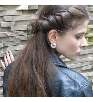 Front Back Micropave Jacket Earrings Plated in Women's Earring Jackets