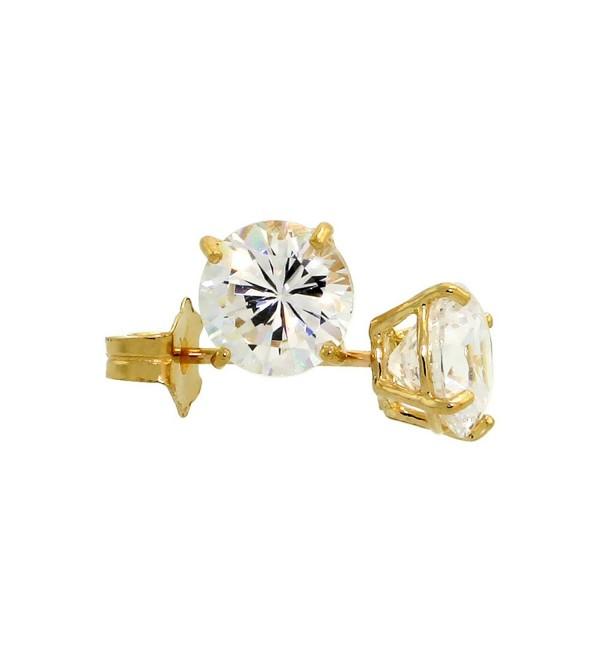 14k Yellow Gold Cubic Zirconia Earrings Studs 5 mm Brilliant Cut Basket Set 1 carat/pr - CJ1110NL09N
