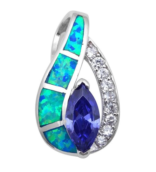 Simulated Tanzanite Zirconia Sterling Necklace - Lab Created Blue Opal - CB11HAZJCLR